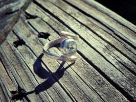 Prasiolite bezel ring in nickel silver by whippetgirl