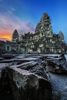 Angkor Wat Sunset by cwaddell