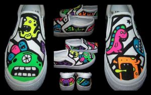 Custom Shoes: Monsters - Sides by kustom-kicks