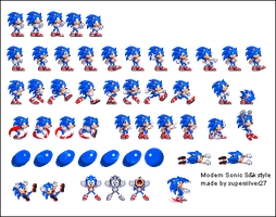 Modern Sonic S3 style sprites by supersilver27