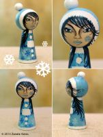 Winter Kokeshi. A Girl In Blue. by ZanetaGc