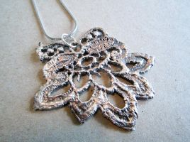 Silver Lace Flower Pendant by spaceraptor