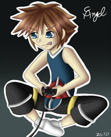 Sora playing his PS2 by AngelShizuka