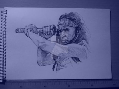 Michonne warm-up by Alan-Gallo