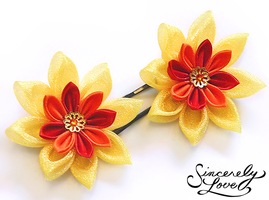 Commission: Fire Lotus Kanzashi by SincerelyLove
