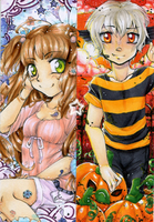 Mikan and Mitch bookmarks - b'day gifts by Egao-ho
