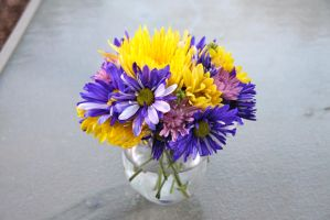 Violet and Yellow Flower Arrangement by Dewheart85