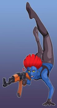 Mystique, with assault rifle. by jboquiren