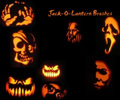 Jack o Lantern Brushes by KaiPrincess