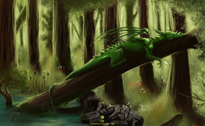 Lying in a green forest by whispersss