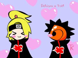 Deidara and Tobi by TobiKitten
