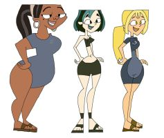 Gwen, Bridgette, and Leshawna in swimwear by HunterxColleen