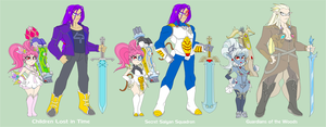 Trunks and Chibi's Costumes by Tyrranux