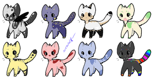 Bunch of kitty adopts 5 - 1/8 OPEN by coldioc