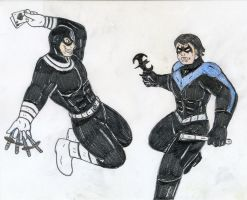 Bullseye vs Nightwing by Jose-Ramiro