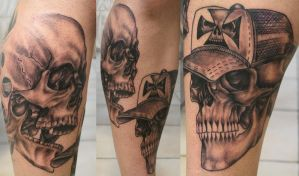 Tattoo Skulls leg by 2Face-Tattoo