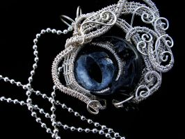 Wire Wrapped - Dark Moon Goddess - Eye Pendant by LadyPirotessa