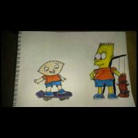 stewie and bart skateboarding by THEKID1717