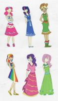 MLP:FIM Human Pony Dresses by JoyWillCome