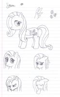 Fluttershy Sketches by uhnevermind