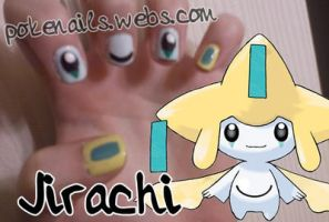 Jirachi Nail Art Design by Pandamoniuum
