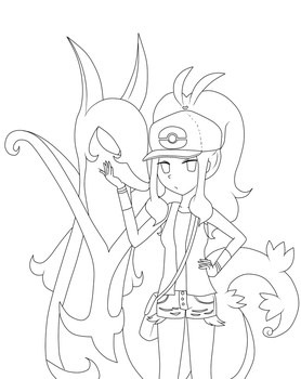 White and Serperior :lineart: by mica-doodles