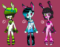 Techno Bunny adoptables by z-o-k-i