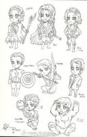 The Avengers Chibified LineArt by vampiresongka