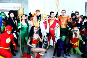 The Justice League and Misty and Misa! by Lawrielle21