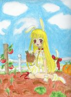 White Rabbit in a Veggie Patch by Tamao
