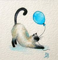 Kitty in aquarel by iristerwisscha