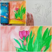 Watercolor Tulips (Process) by belyreyes