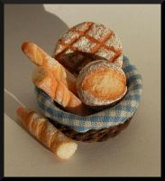 Freshly baked breads by MiniatureChef