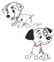 Baby Dogs-Pongo and Perdy by Stray-Sketches