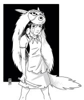 Princess Mononoke Digi Sketch by hyperjack08