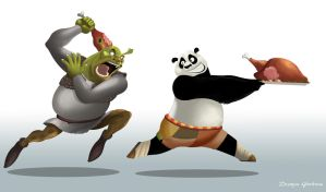 Shrek and Po (Kung Fu Panda) by DMGoodrum