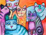 Colorful Cats 6 by jenthestrawberry