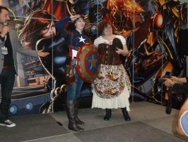 Steampunk female Captain America and friend by nx20