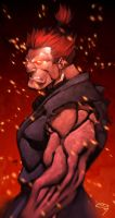Akuma colored by Kid-Destructo