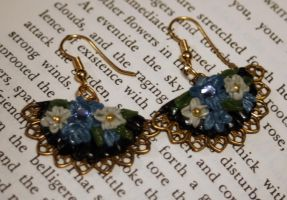 Blue Flowered Fan Earrings by LeeAnneKortus