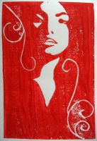 Self-Portrait - Linoleum Print by Khorin
