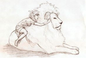 riding on a lion by Muh-a