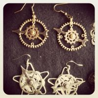 Gold and Silver Steampunk Clock Hands Earrings by GeekStarCostuming