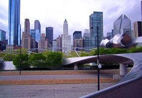 Bridge to Millennium Park CityScape by zackthemac