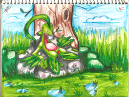 Grovyle on his rock by MusicalCombusken