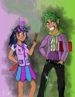 Human Twilight and Spike by MLJ-Lucarias
