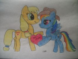 Hearts N Hooves Day Applejack and Dashie by grandmoonma
