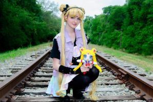 My Sailor Moon Cosplay with my Sailor Moon plushie by frillycarnival