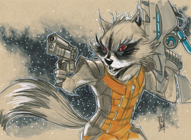 Rocket Raccoon Daily Sketch 5-14-2014 by Hodges-Art