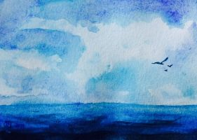 Watercolor clouds/water by carlusa26